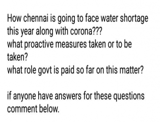 watercrises, chennai, awareness, COVID19